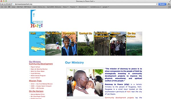 image of the homepage for Doorway to Peace Haiti