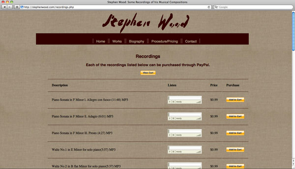 image of page from Stephen Wood website with recordings of his musical compositions